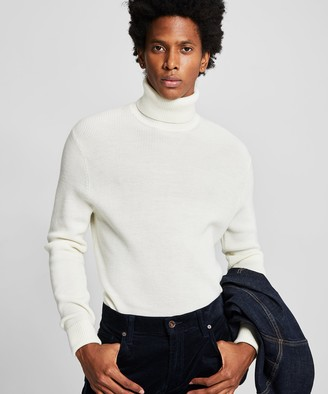 Todd Snyder Solid Ribbed Turtleneck in Ivory