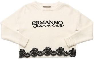 Ermanno Scervino Flocked Logo Viscose Blend Knit Sweater