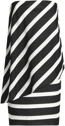 Halston Strapless Striped Woven Mini Dress