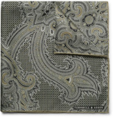 Turnbull & Asser Paisley-print Silk Pocket Square - Army green