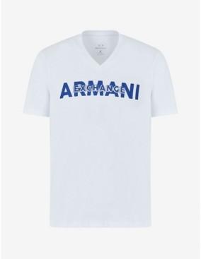 AX Armani Exchange Men's Short Sleeve Armani Exchange Layered Logo V-Neck T-Shirt