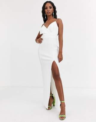 Asos Design DESIGN fold front scuba maxi dress with thigh split-White