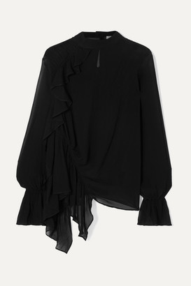 Preen Line Sakura Ruched Georgette Blouse - Black