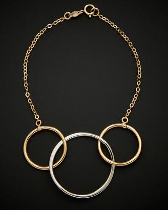 Italian Gold 14K Two-Tone Triple Circle Bracelet