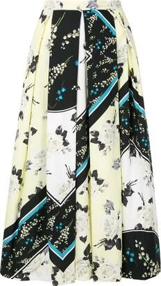 Erdem Floral-Print Contrast Skirt