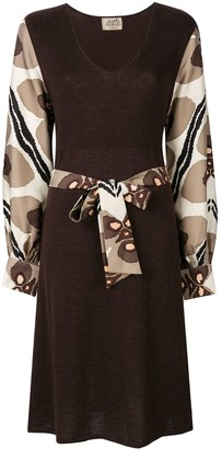 Hermes Pre-Owned printed sleeves belted dress