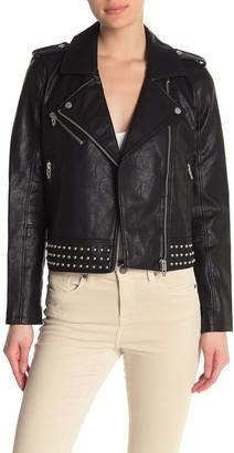 Blank NYC Blanknyc Denim Stud Embellished Moto Jacket