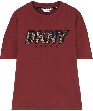 DKNY Appliqued Embroidered Cotton-blend Fleece Top