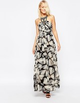 B.young Printed Maxi Dress With Embellished Neckline