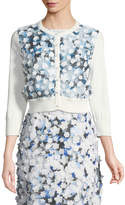 Karl Lagerfeld Floral-Appliequé Button-Front Shrug
