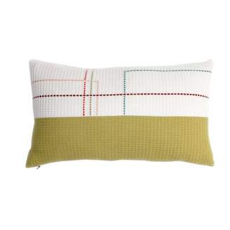 Waffle Design Herbert Organic Cotton Hand Embroidered Olive White Rectangle