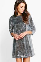 Boohoo Boutique Lucie Sequin 3/4 Sleeve Shift Dress