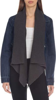Bagatelle Knit Drape-Collar Denim Jacket