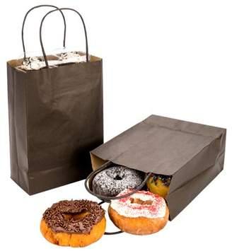 "Restaurantware Saving Nature Black Paper Medium Shopping Bag - 10"" x 6 3/4"" x 12"" - 100 count box"