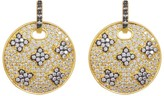 Freida Rothman 14K Gold Plated Sterling Silver CZ Pave Clover Medallion Drop Earrings