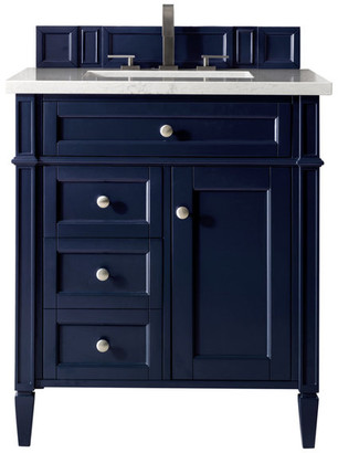 """James Martin Vanities Brittany 30"""" Single Vanity, Victory Blue, 3cm Arctic Fall Solid Surfac"""