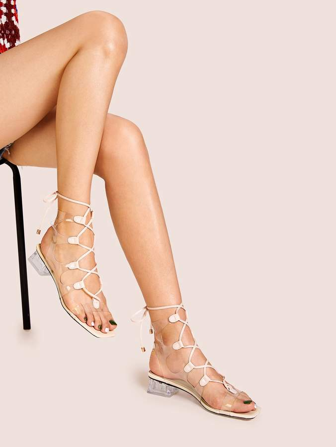 Gladiator Heeled Sandals Clear Block j4Lc53ASRq