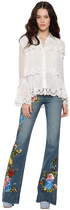 Alice + Olivia (アリス オリビア) - Alice+olivia Kartwright Pleated Tier Button Down