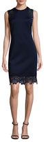 Donna Ricco Scuba Lace Trimmed Sheath Dress