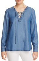 Sanctuary Lace-Up Chambray Blouse - 100% Exclusive