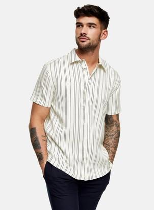 Topman PREMIUM Ecru Stripe Slim Shirt