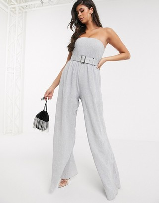 Bariano bandeau plisse jumpsuit in silver