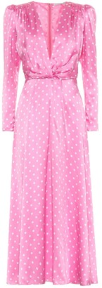 Alessandra Rich Polka-dot silk-satin midi dress