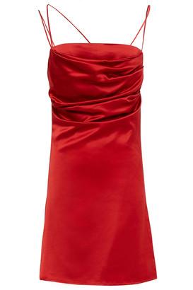 De La Vali Frisco Ruched Stretch-satin Mini Slip Dress