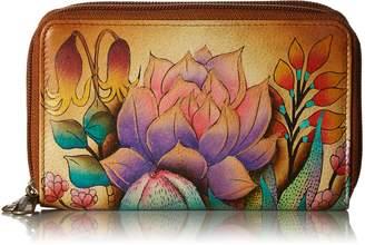 Anuschka Women's Genuine Leather Twin Zip Organizer Wallet | Holds up to 18 Cards | Hand Painted Original Artwork | Desert Sunset