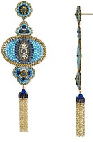 Miguel Ases Beaded Eye Chandelier Earrings
