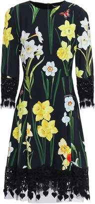 Dolce & Gabbana Lace And Tulle-trimmed Floral-print Crepe Dress