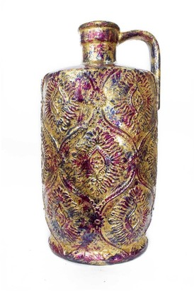 HomeRoots Amber Pink and Purple Foil and Lacquer Damask Stamped Jug Vase