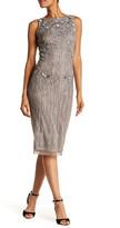 Theia Sleeveless Beaded Midi Dress