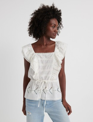 Lucky Brand Eyelet Ruffle Top