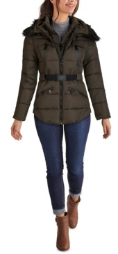 GUESS Faux-Fur Trim Hooded Belted Puffer Coat