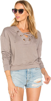 Twenty Superior Lace Up Sweater in Gray