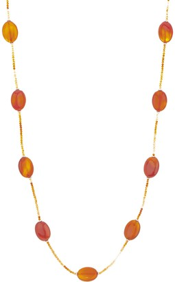 """Oval & Faceted Opaque Gemstone Bead 36"""" Necklace, Sterling Silver"""