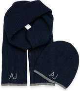 Armani Jeans Logo-embroidered Beanie Hat And Scarf Gift Set