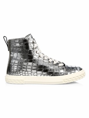 Giuseppe Zanotti Braky Print Argento Metallic Crocodile-Embossed Leather High-Top Sneakers