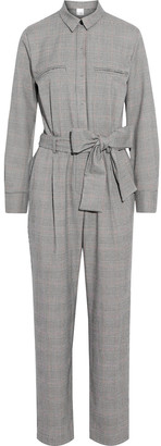 Iris & Ink Isabelle Belted Prince Of Wales Checked Cady Jumpsuit
