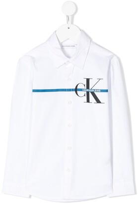 Calvin Klein Kids logo printed buttoned shirt