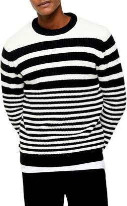 Topman Striped Knit Crew Sweater