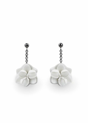 Lladro Orchid Short Earrings. Porcelain Earrings.
