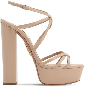Aquazzura 140mm Gin Leather Platform Sandals