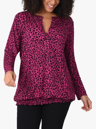 Live Unlimited Curve Animal Print Jersey Top, Pink