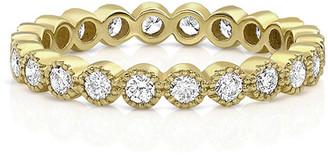 Dominique Cohen 18k Yellow Gold Diamond Milgrain Stacking Ring (Large), Size 7