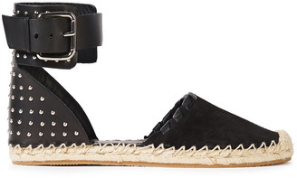 Red(V) Studded Leather And Suede Espadrilles