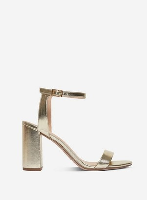 Dorothy Perkins Womens Wide Fit Gold 'Shimmer' Heeled Sandals, Gold