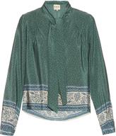 Sea Tie-neck border-print silk blouse