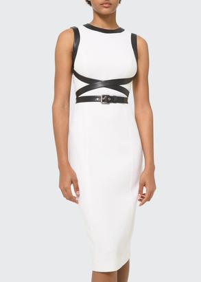 Michael Kors Collection Crisscross Leather Sheath Dress